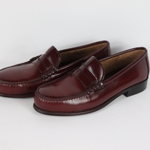 Vintage Double H Shoes 90s Double H Mens 9.5 Leather Steel Toe Safety Penny Loafers Dress Shoes Wingtip Shoes, Steel Toe Shoes